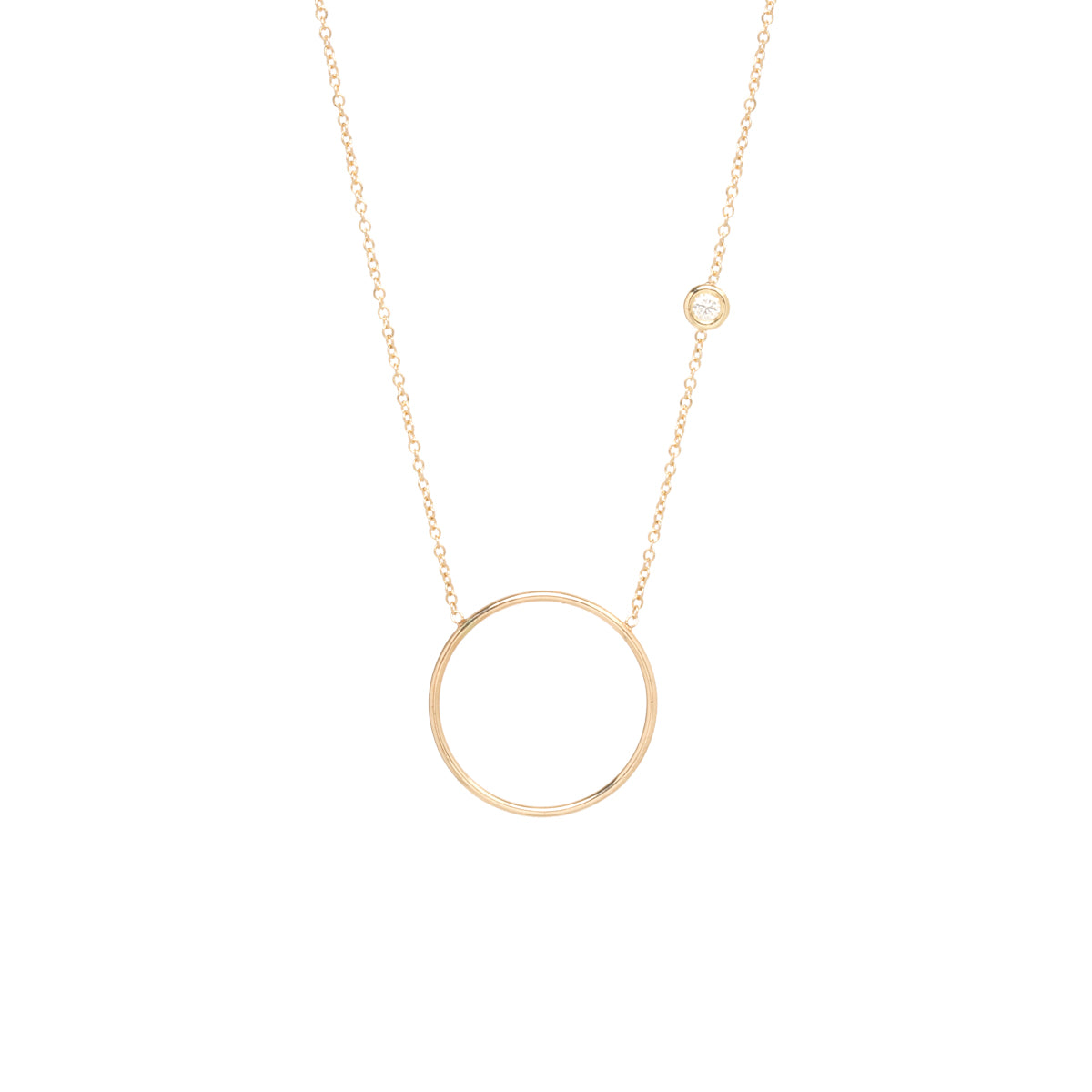14k medium circle necklace with floating diamond