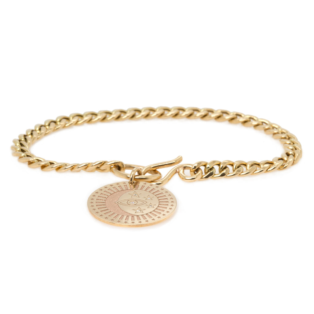 14k medium celestial protection medallion charm bracelet