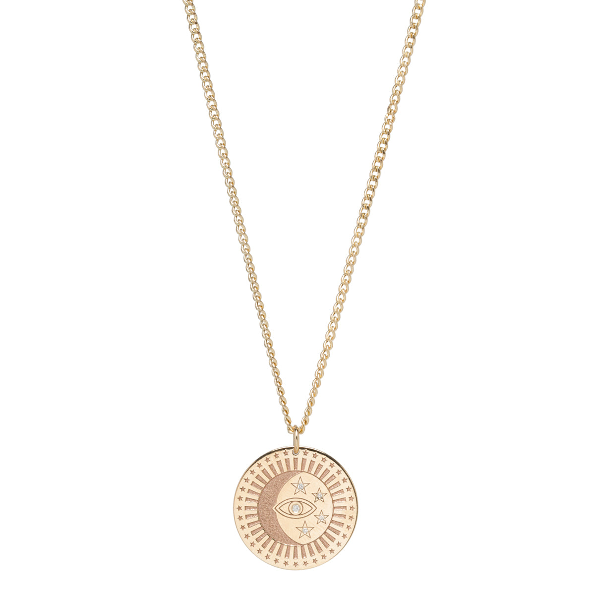 14k x-small curb chain medium celestial protection medallion with diamond