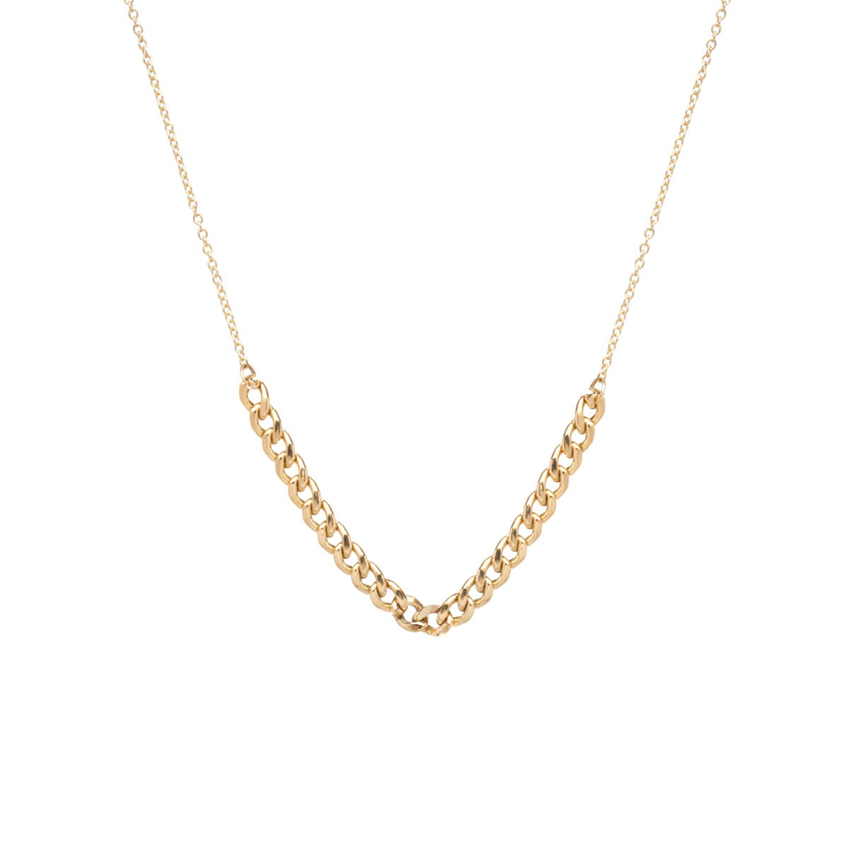 14k gold medium curb chain station necklace
