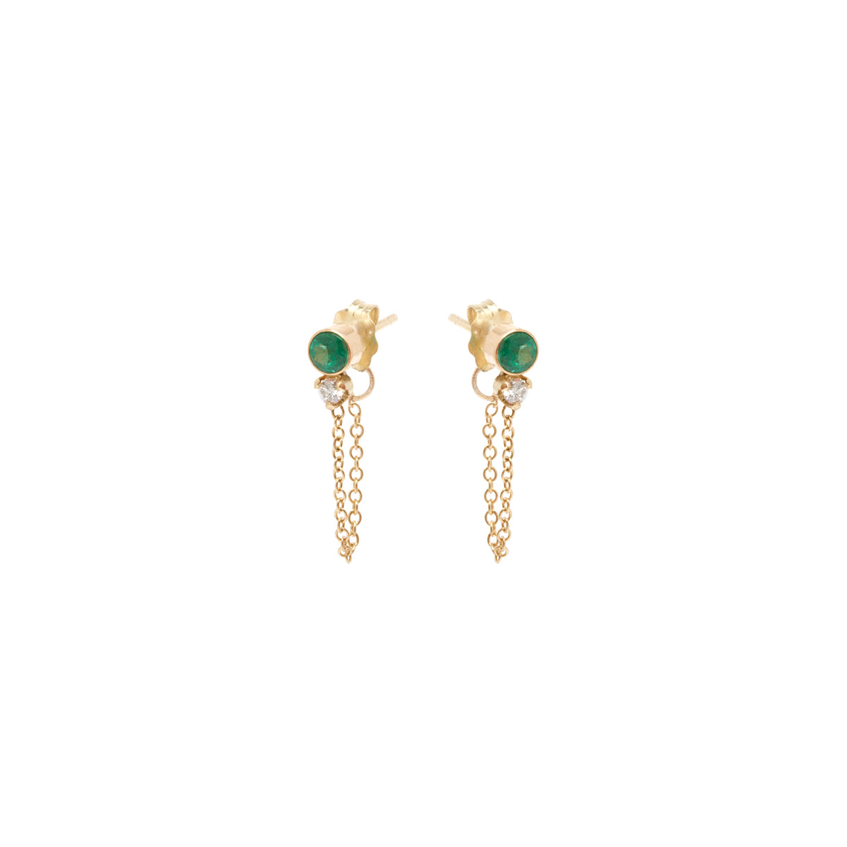 14k emerald and diamond chain stud earrings
