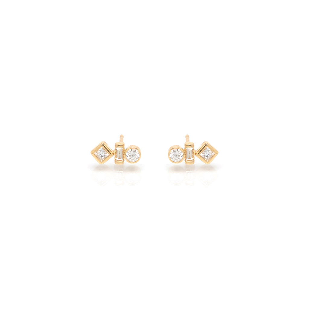 14k mixed shaped diamond studs