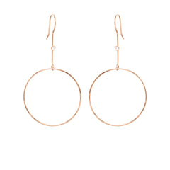 14k medium drop circle earrings with prong set diamonds