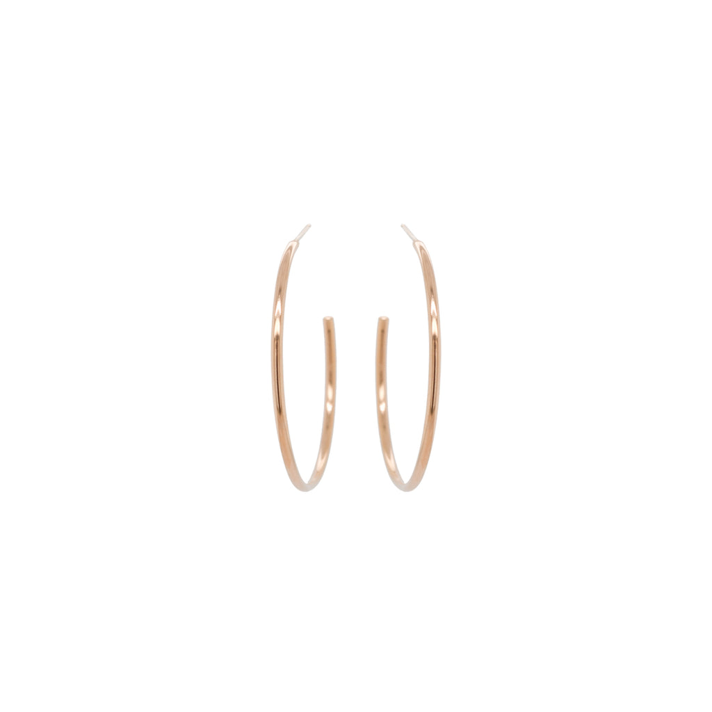 14k medium round wire hoops