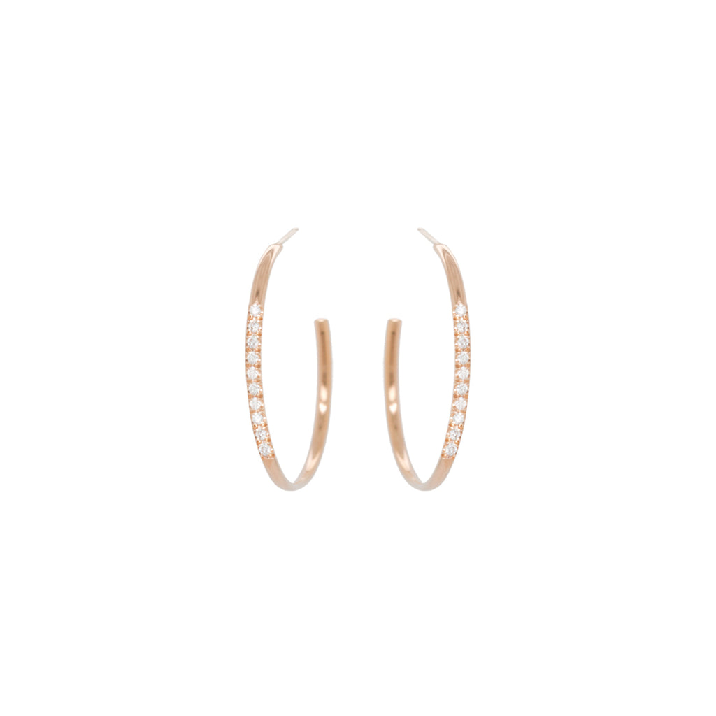14k 10 pave diamond medium hoops
