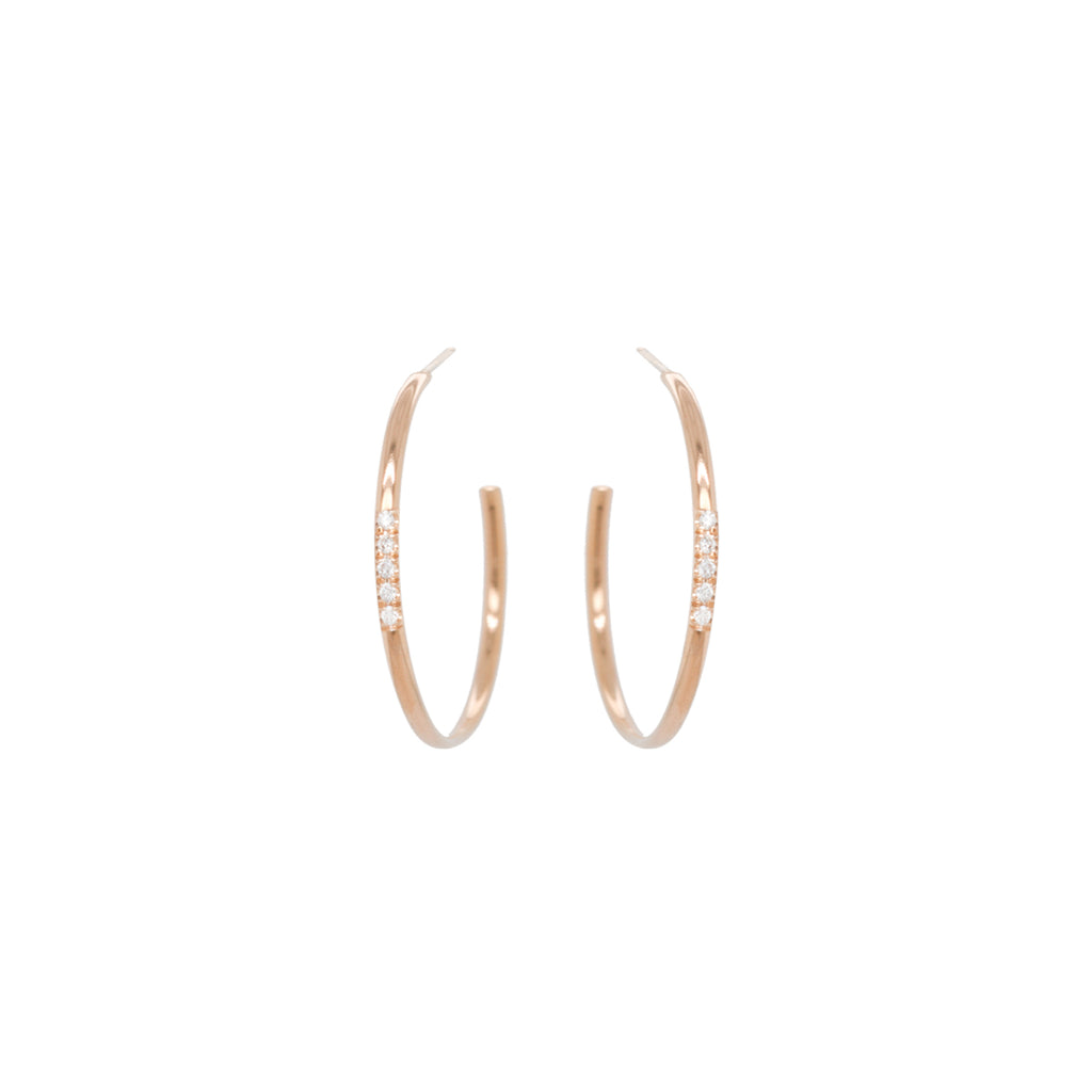 14k 5 pave diamond medium hoops