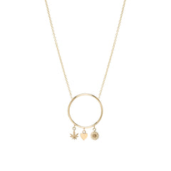 14k circle dangling itty bitty symbol necklace