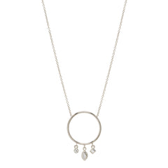 14k circle dangling mixed diamond necklace