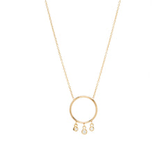 14k circle dangling bezel diamond necklace