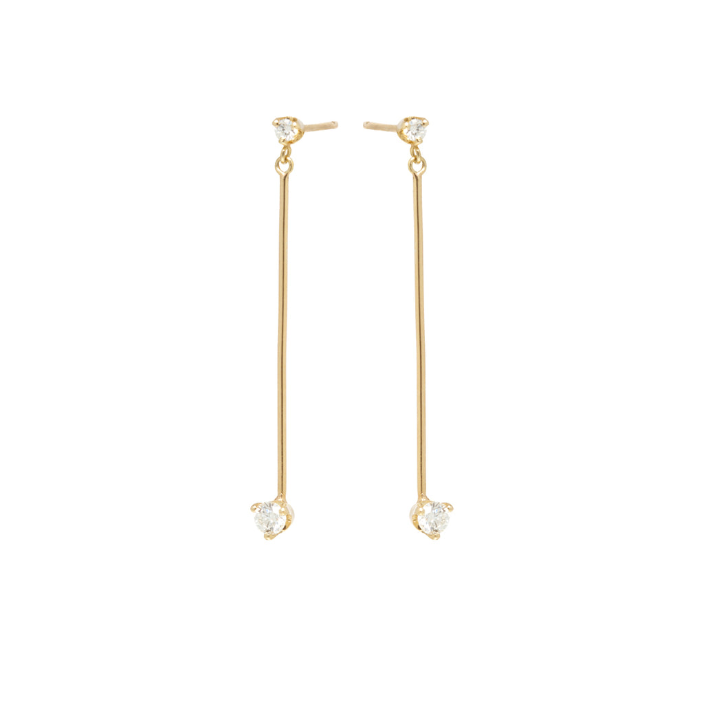 14k long bar prong diamond earrings