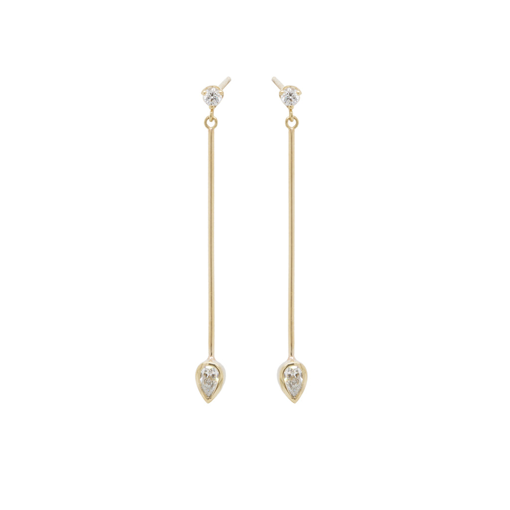 14k long bar prong and pear diamond earrings
