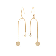 14k medium gold disc and diamond mobile earrings