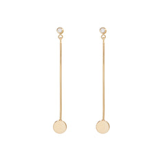 14k long bar gold disc and diamond earrings
