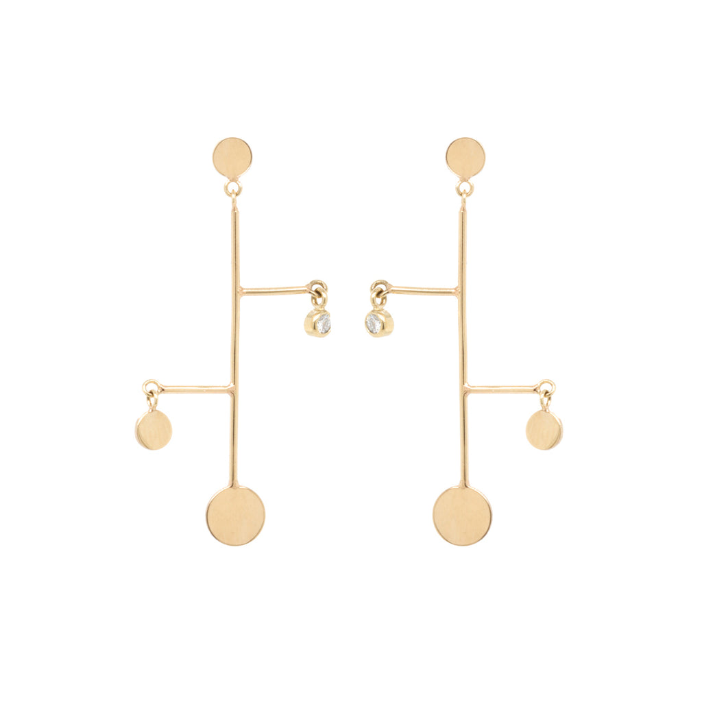 14k asymmetric gold disc and diamond earrings