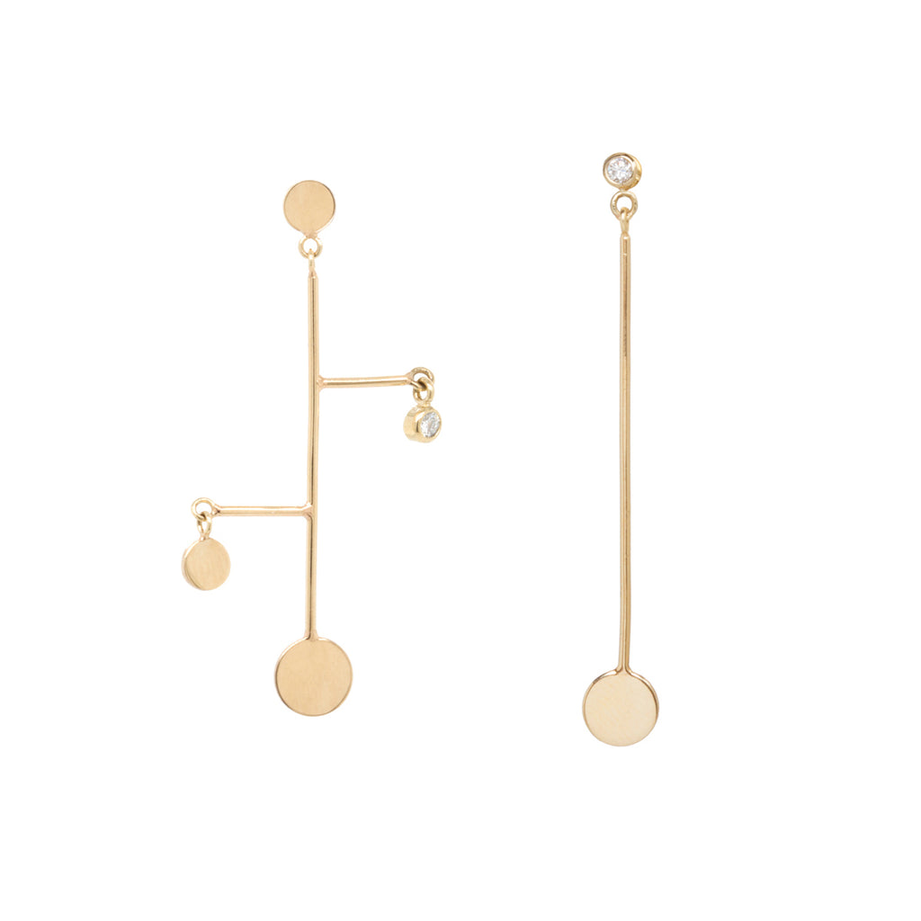 14k mismatched gold disc and diamond mobile earrings