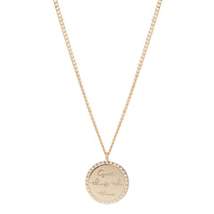 14k medium mantra necklace on extra small curb chain