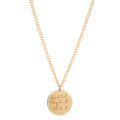 14k medium mantra necklace on small curb chain