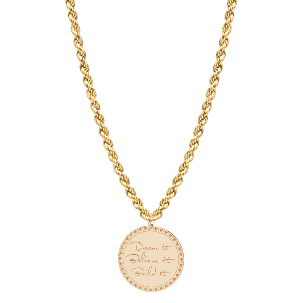 14k medium mantra necklace on medium rope chain