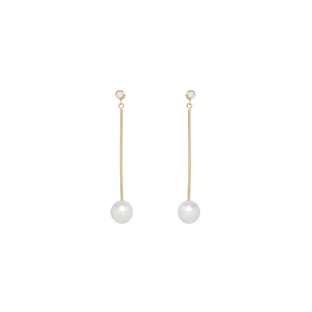 14k long bar pearl and diamond earrings