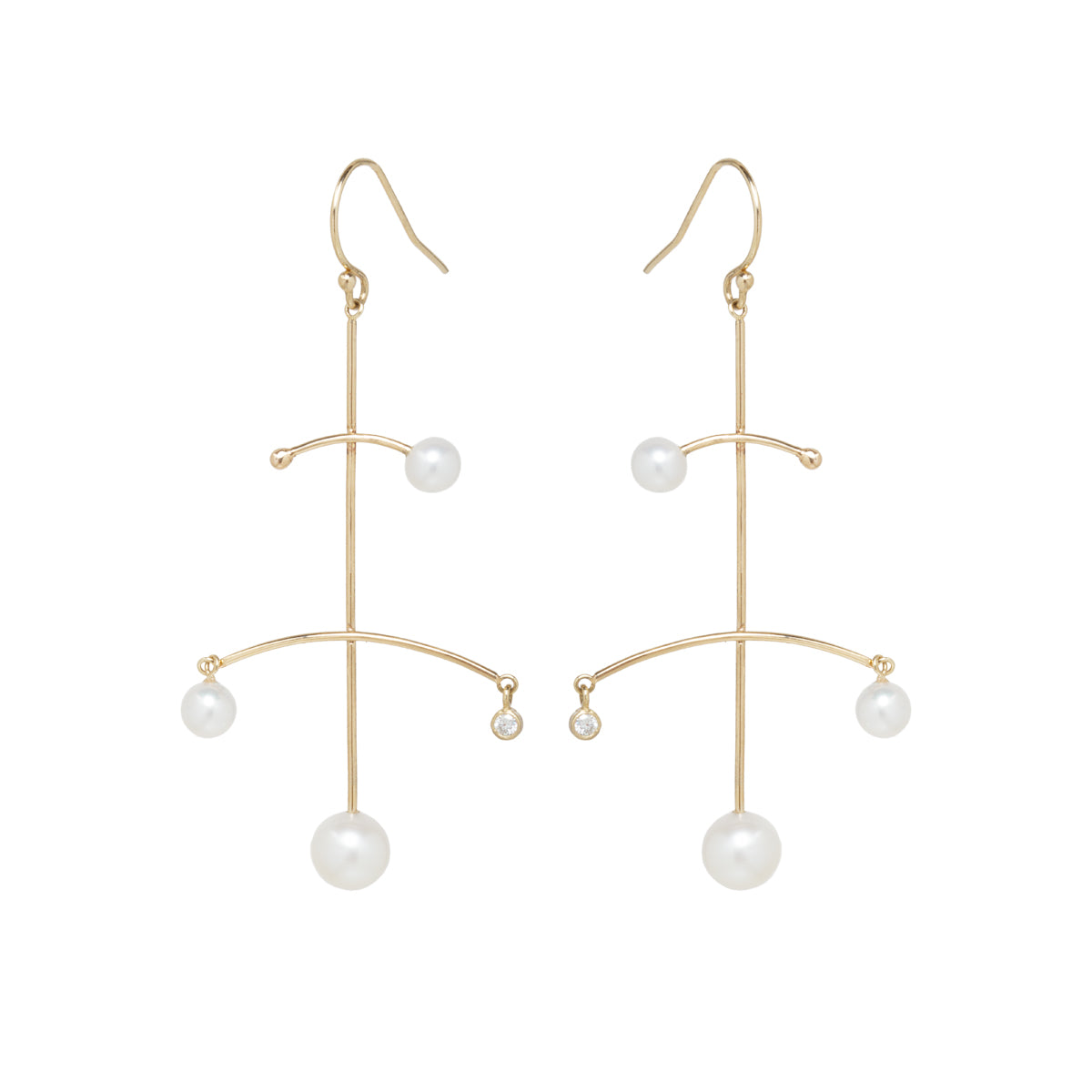 14k small pearl and diamond mobile earrings