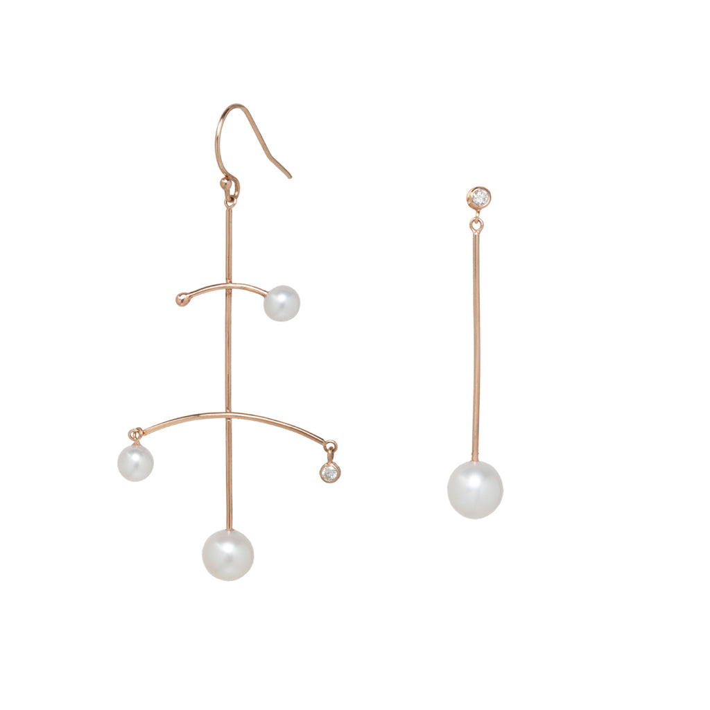 14k mixed pearl and diamond mobile earrings