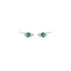 14k gold mixed emerald bezel and diamond prong studs