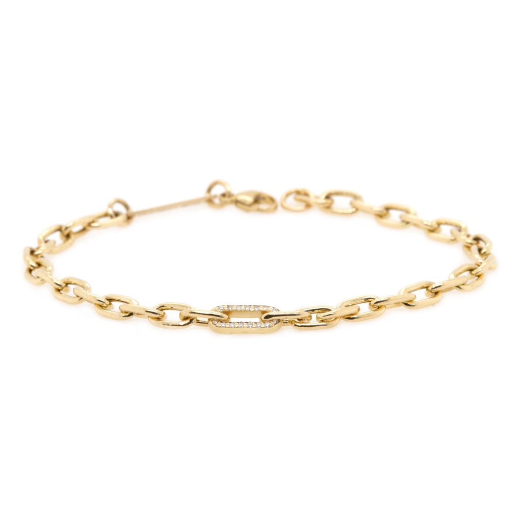 14k medium square oval link bracelet with pave diamond link