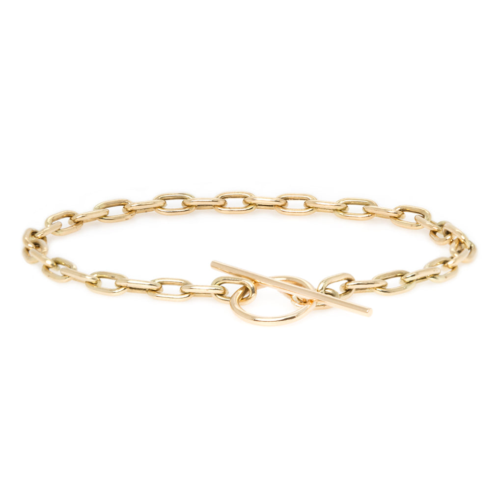 14k medium square oval link chain toggle bracelet