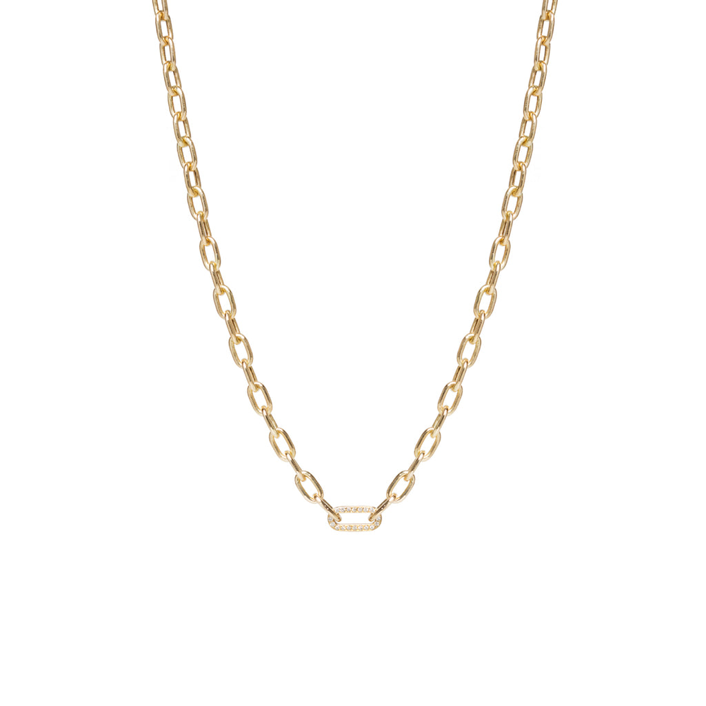 14k gold medium square oval link chain necklace with pave link