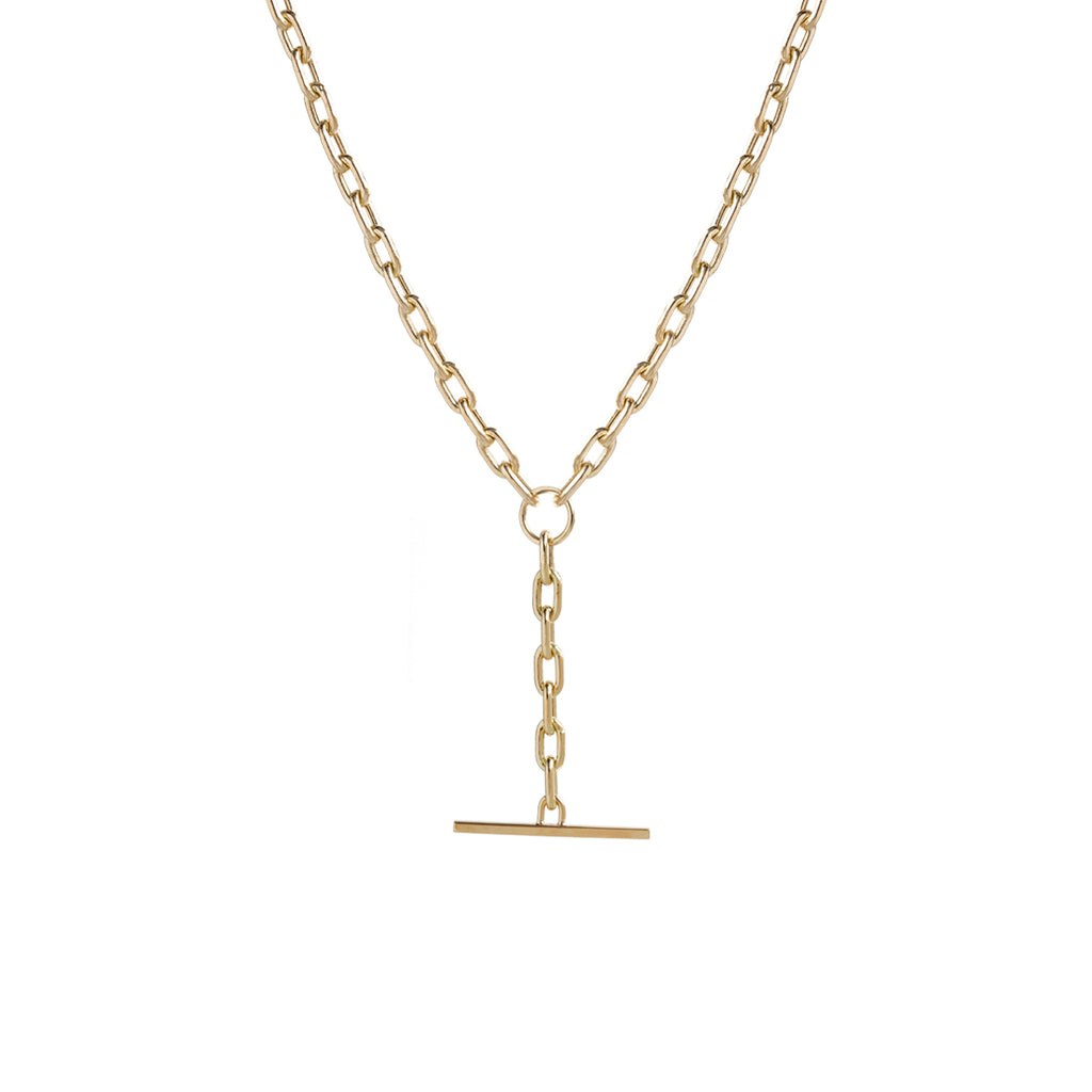 14k gold medium square oval link chain faux toggle necklace