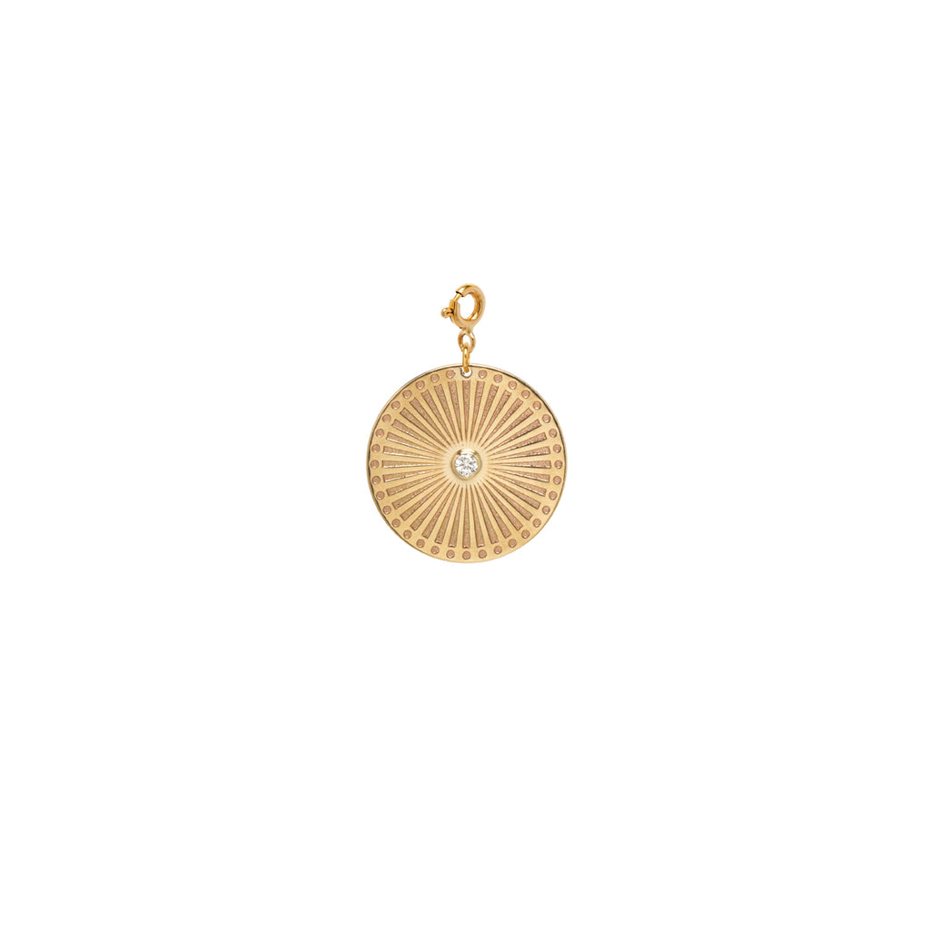 14k medium sunbeam medallion disc charm on spring ring
