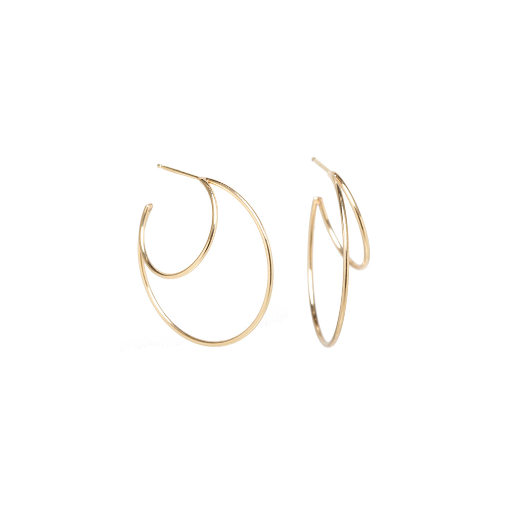 14k double wire medium hoops