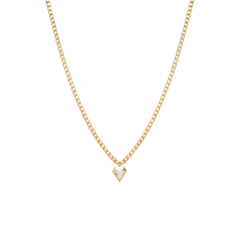 One-of-a-kind 14k small curb chain necklace with shield diamond