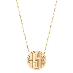 Zoë Chicco 14kt Yellow Gold Circle Monogram Necklace