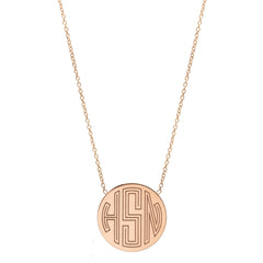 Zoë Chicco 14kt Rose Gold Circle Monogram Necklace