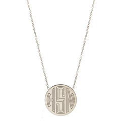 Zoë Chicco 14kt White Gold Circle Monogram Necklace