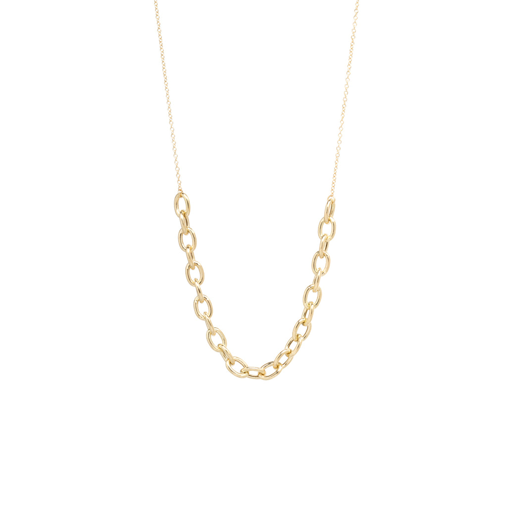 14k gold oval link station necklace