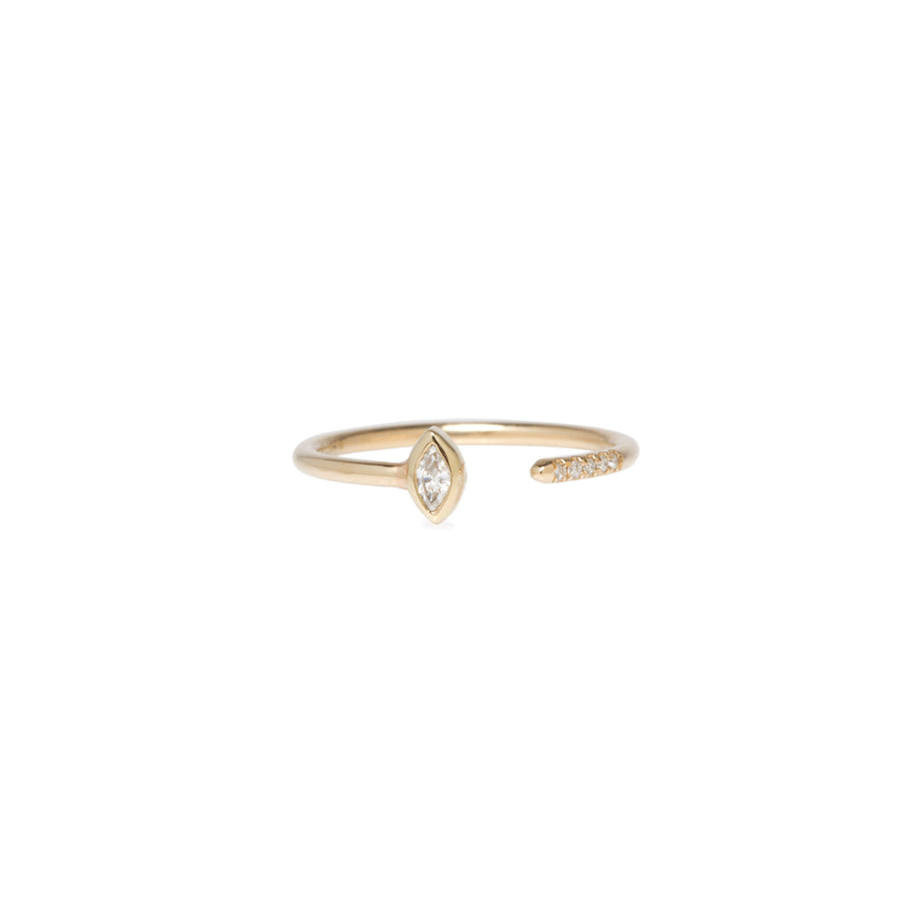 14k marquise and pave diamond open band ring