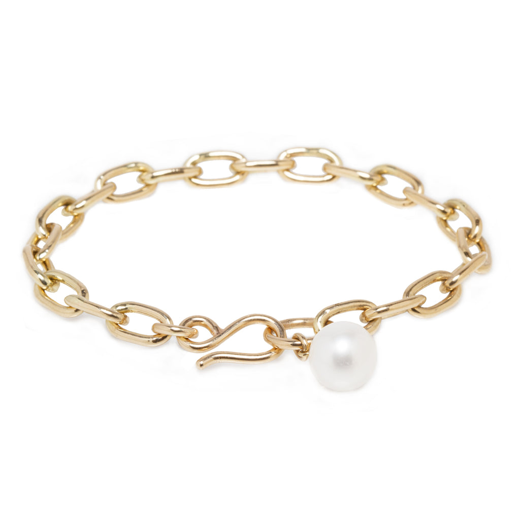 14k medium oval link white pearl dangle bracelet