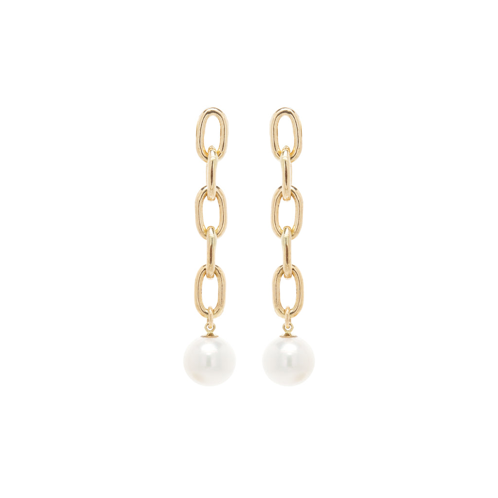 14k extra large oval link chain pearl drop earrings