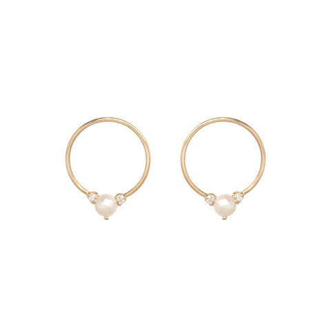 14k circle earrings with pearls and diamonds