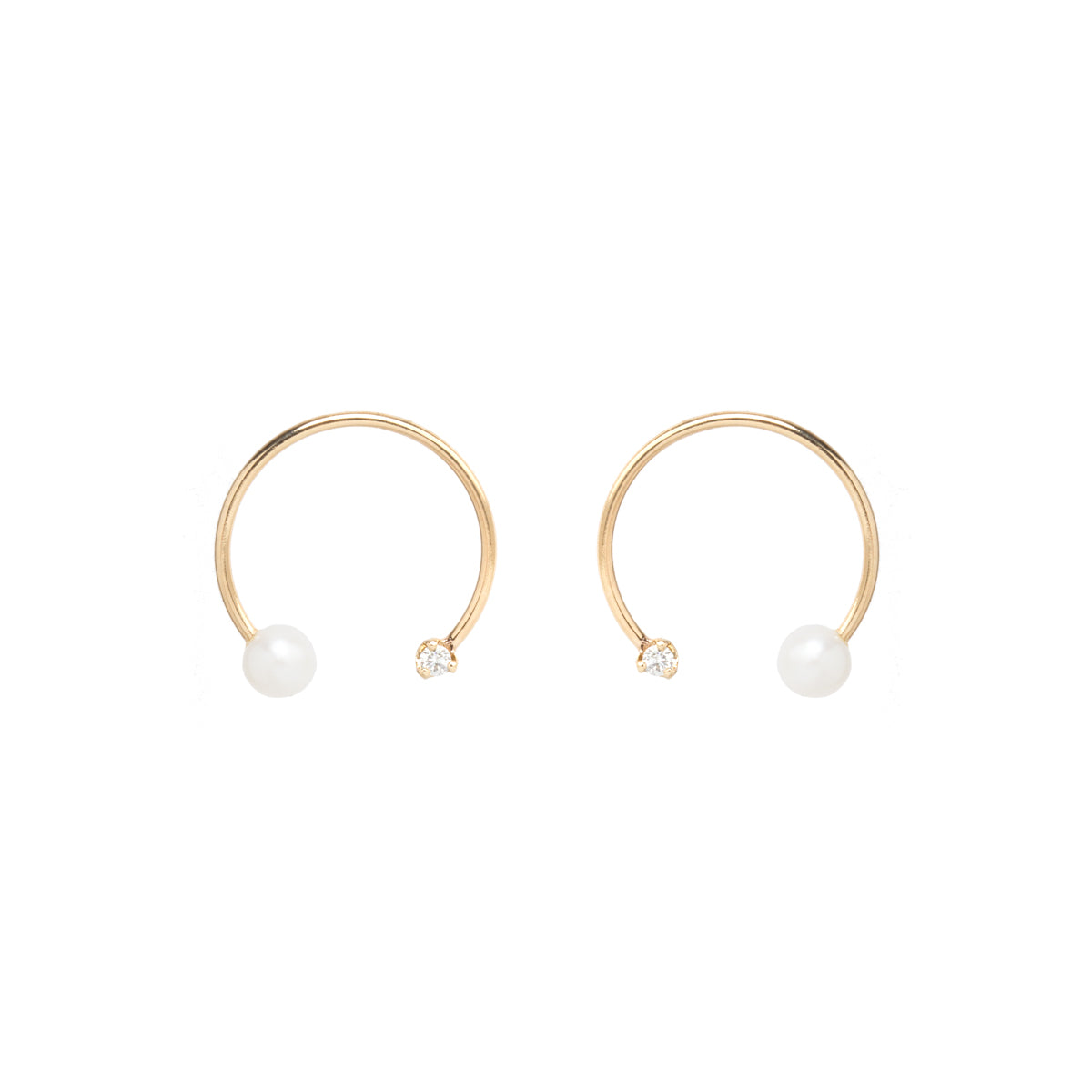 14k open circle earrings with pearls and diamonds