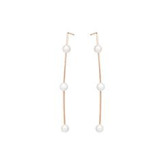 Zoë Chicco 14k Rose Gold 3 Pearl Wire Earrings