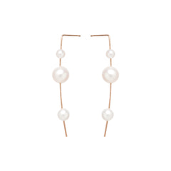 Zoë Chicco 14kt Rose Gold 3 Graduated White Pearl Wire Earrings