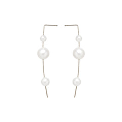 Zoë Chicco 14kt White Gold 3 Graduated White Pearl Wire Earrings