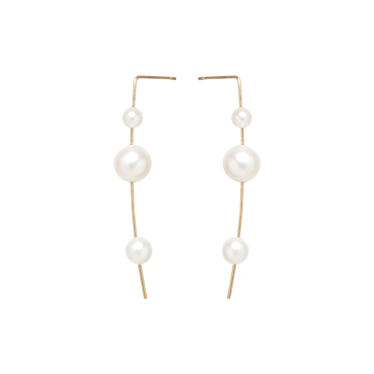 Zoë Chicco 14kt Yellow Gold 3 Graduated White Pearl Wire Earrings