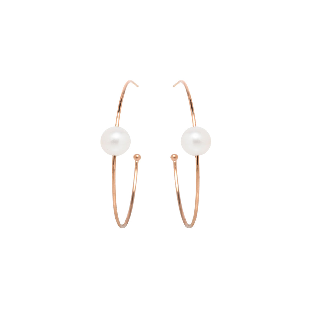 14k single pearl large hoops
