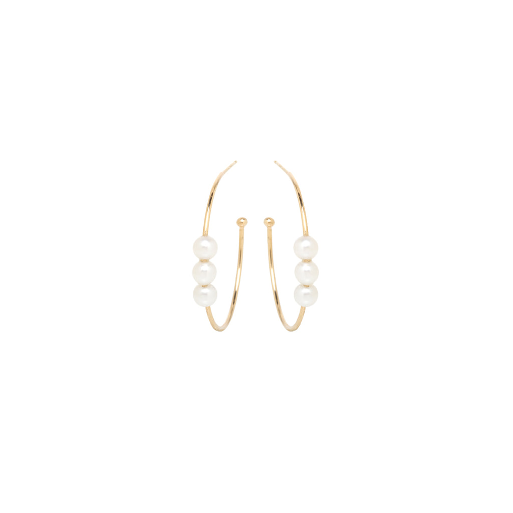 14k triple pearl medium hoops