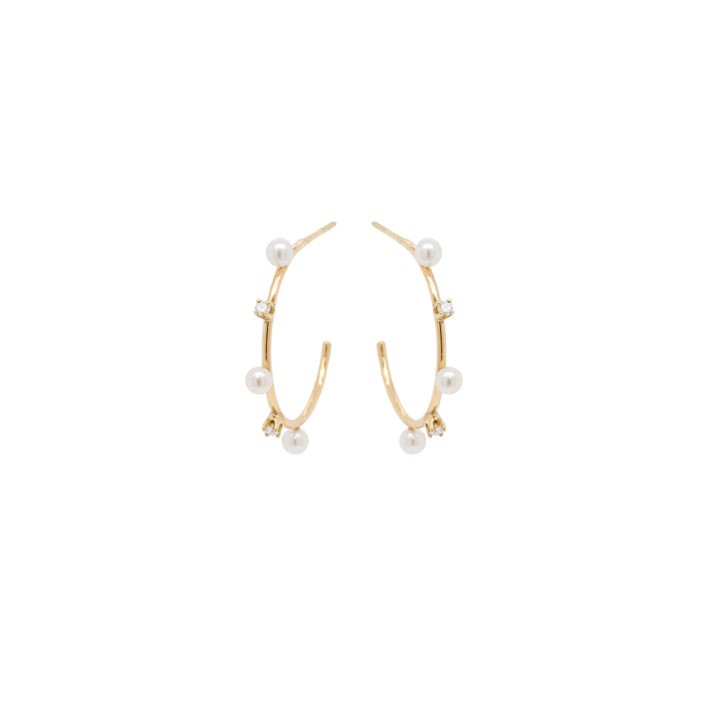 14k prong set diamond and tiny pearl medium hoops