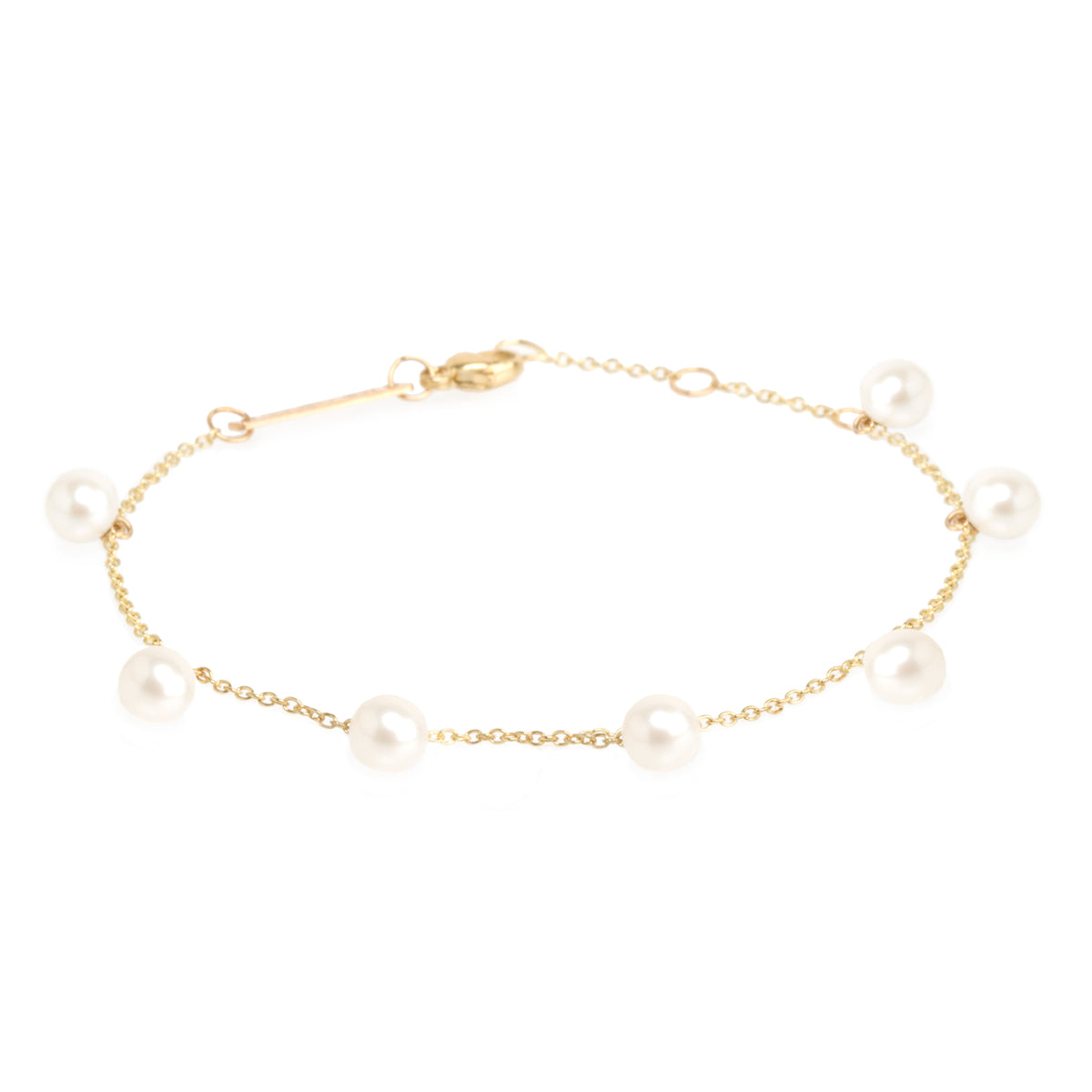 Zoë Chicco 14kt Yellow Gold 7 White Pearl Dangle Bracelet